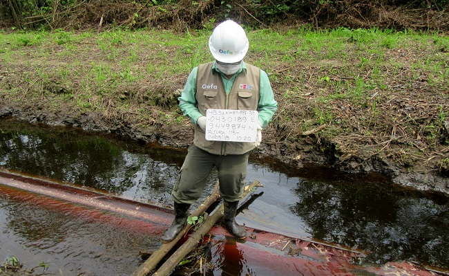 OEFA supervisa derrame de petroleo en Oleoducto Norperuano en Loreto