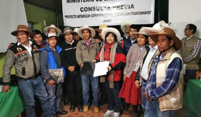 Minem entrego Plan de Consulta Previa a comunidades aledanas a proyecto Coroccohuayco